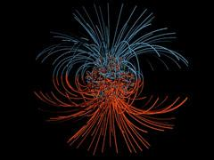 Supercomputer model of the magnetic field lines inEarth's core. (Gary Glatzmaier)