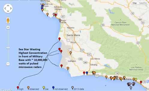 Sea Star Wasting Map
